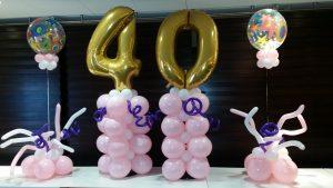 Ballonsäulen mit einer goldenen 40