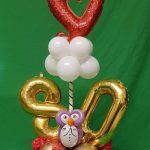 Geschenkidee zum 80. Geburtstag, Offenes Herz, Eule, Ballonsäule