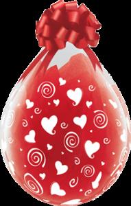 Geschenkballon mit Herzen